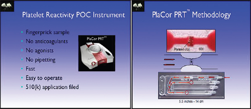 Figure 4: Platelet reactivity monitor uses a drop of fresh blood to monitor shear-induced activation and clotting time. Disposable cassettes with capillary are used to generate flow and required shear force. Courtesy: Blood Biocompatibility Laboratory, University of Minnesota